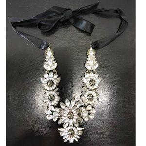 Silver gem statement necklace
